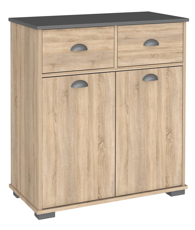 Buffet 2 portes et 2 tiroirs + 1 étagère chêne-gris - Dim : 800 x 40 x90 cm - PEGANE -