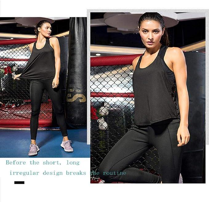 Vaycally T-Shirt da Running Sportiva Atletica Leggera da Donna Active Racerback da Donna Canotta Sportiva da Allenamento Lunga da Allenamento