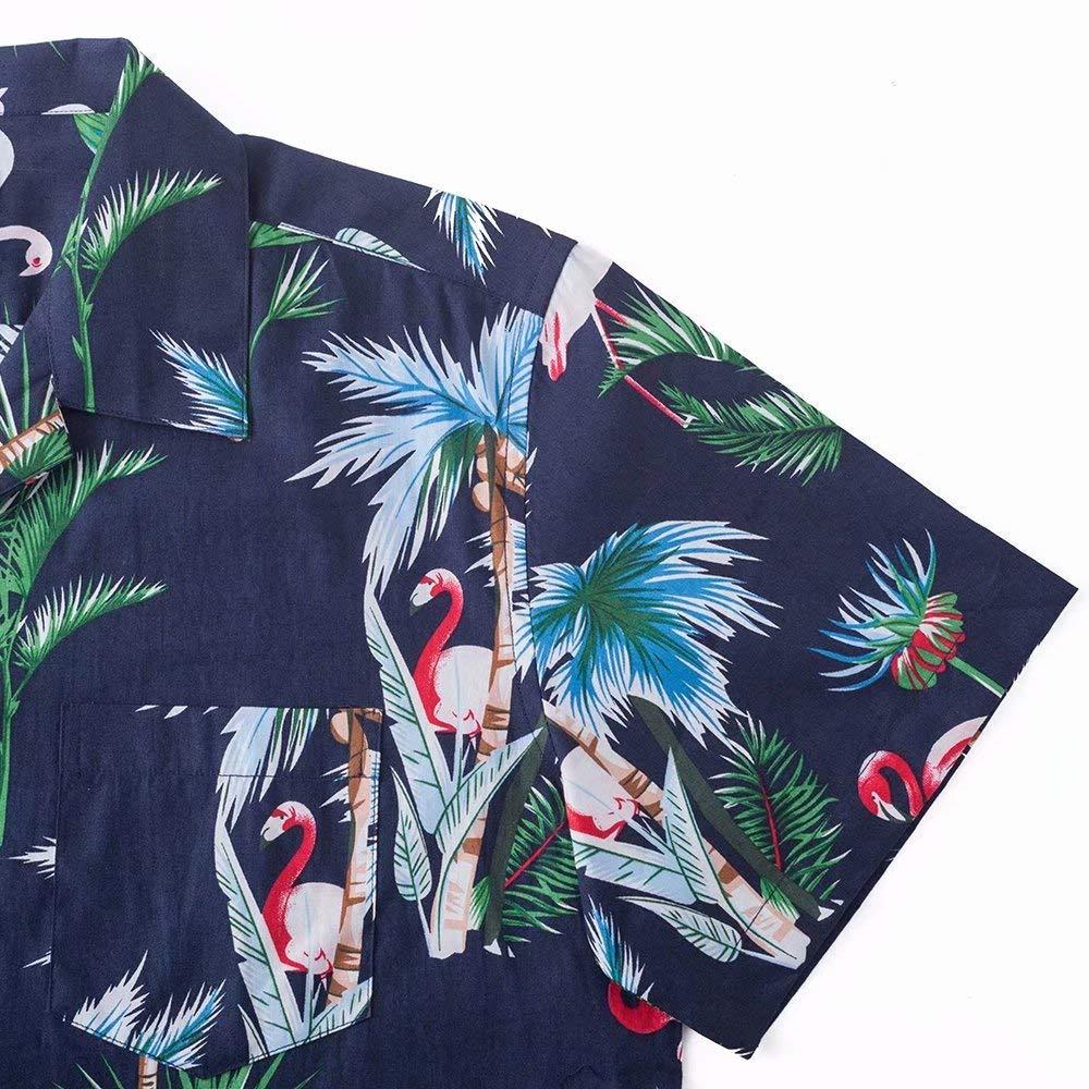 XI PENG Mens Hawaiian Floral Print Short Sleeve Camp-Collar Casual Button Down Shirt