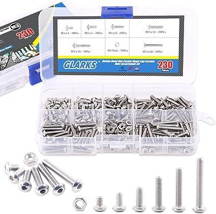 230x M2 Metric Hex Socket Button Head Screw Bolt Nuts w// Box Kit Stainless Steel