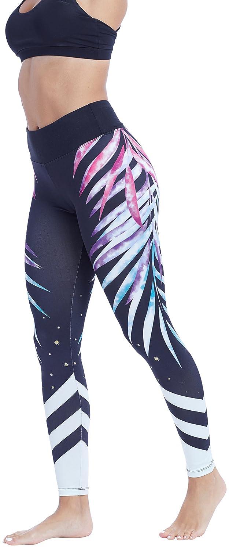 cf971371e722 Amazon.com  Marika Allura Legging With Graphic Print (Palm Fronds ...