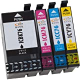IC4CL76 epson76 PX-M5040Fインク PX-M5041Fインク エプソンインクカートリッジ76 大容量互換インク-残量検知機能付-純正品と併用可能-4色パック/PX-M5080/PX-M5081/PX-S5040/PX-S5080【認識のTOP-RANK正規品】