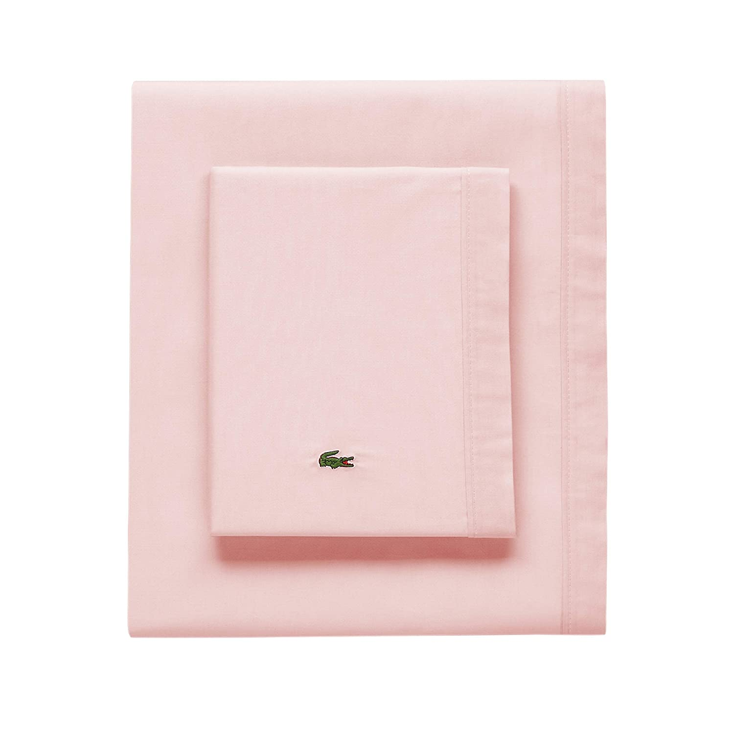 Lacoste 100% Cotton Percale Sheet Set, Solid, Iced Pink, Twin Extra Long