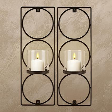 Set Of 2 Metal Wall Sconces Sarah Peyton Hanging Candle Holders Modern  Lighting Décor