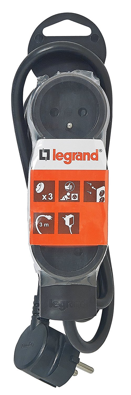 Legrand LEG50035 Rallonge multiprise standard 3 prises 2 pôles avec terre et cordon de 3 m Noir