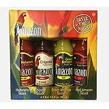 Amazon Chili - Auswahl aus 4 Saucen (Habanero, Chipotle, Green and Red Pepper) - ideal als Geschenk- oder Probierset, 1er Pack (4 x 90 ml)