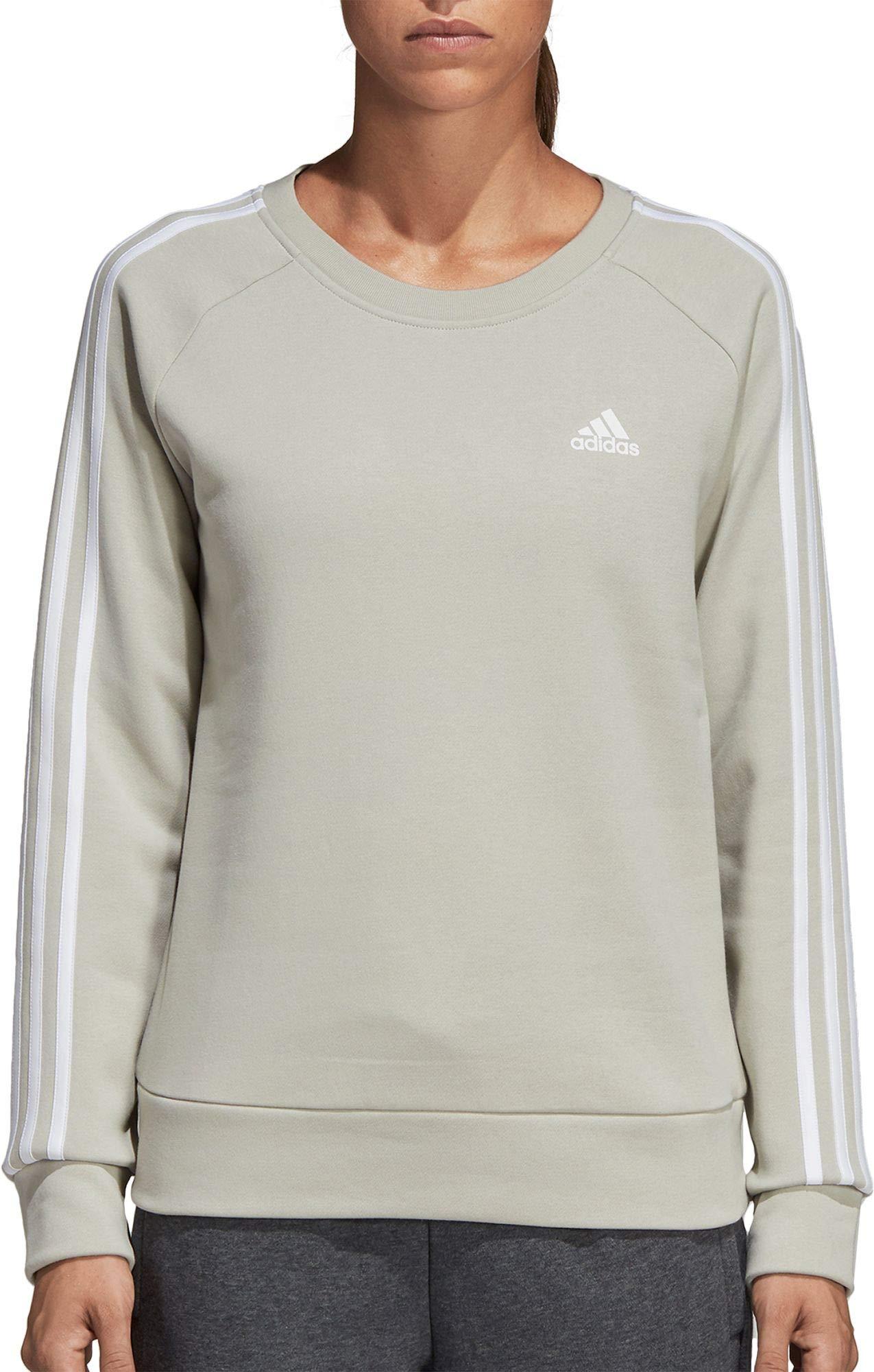 adidas Womens Essentials 3-Stripes Crewneck Sweatshirt (XS, Ash Silver)