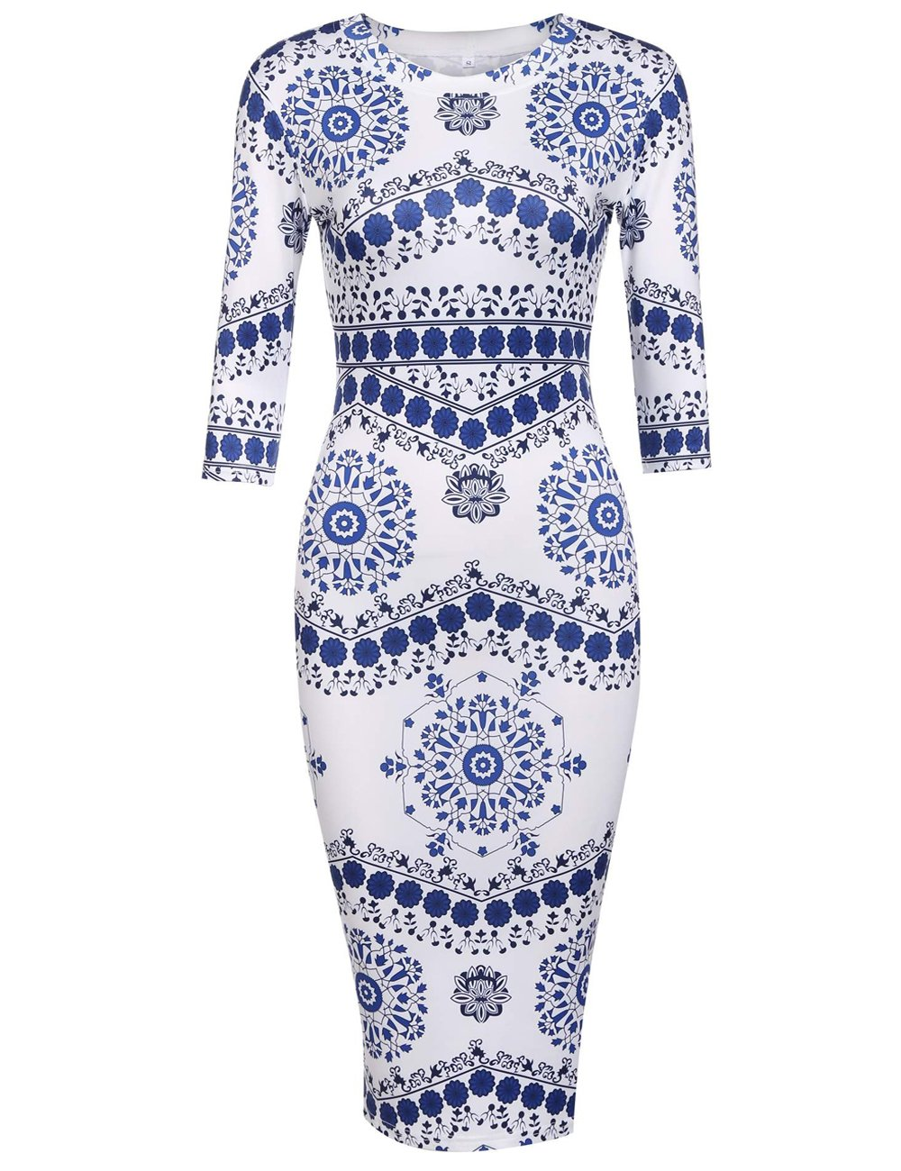 Women 3 4 Sleeve Blue and White Porcelain Floral Print Midi Pencil Dress for Work