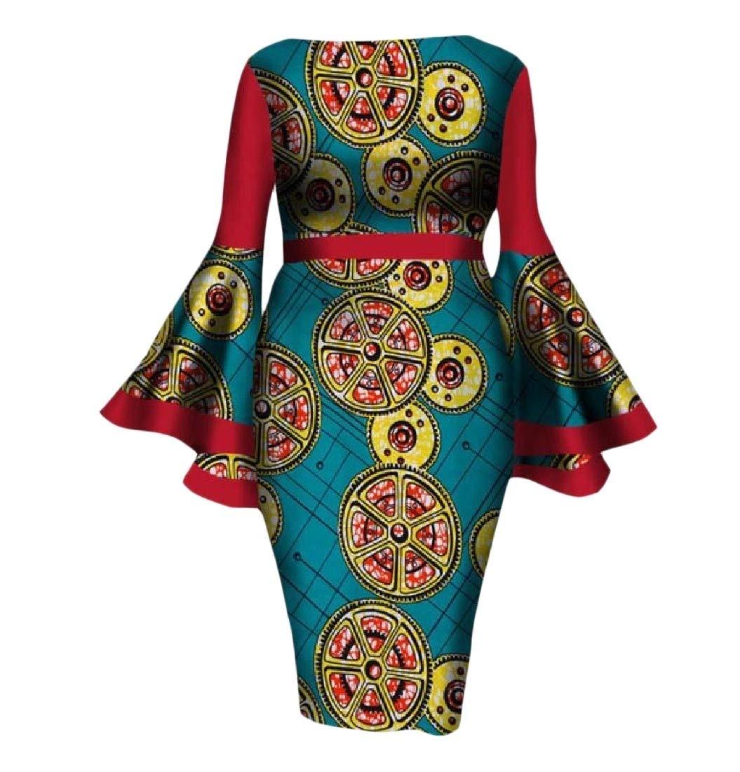 Winwinus Womens Flare Sleeve Dashiki African Print Pencil Cocktail Dress 11 L