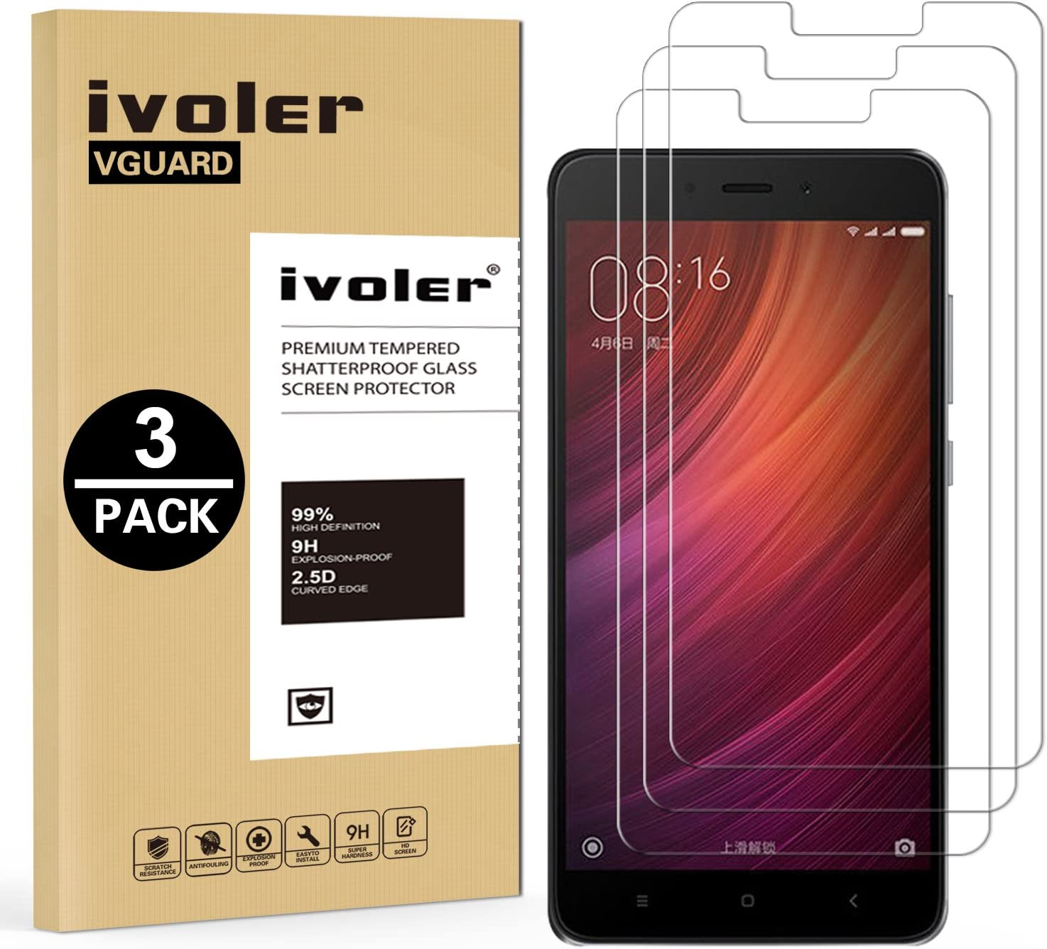 ivoler [3 Unidades] Protector de Pantalla para Xiaomi Redmi Note 4 / Xiaomi Redmi Note 4X, Cristal Vidrio Templado Premium