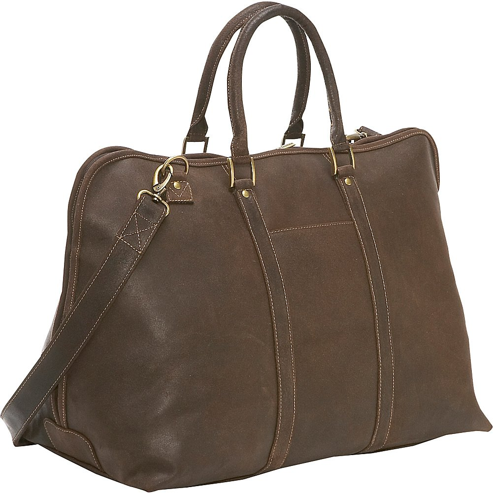 Le Donne Leather Distressed Leather Getaway Duffel Chocolate