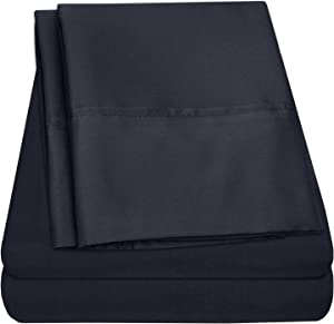 Premium Cotton Percale Bed Sheets - 100% Pure Cotton Egyptian Sheet Set- Made in Egypt - Extremely Soft Sheeting, Deep Pocket, Refreshingly Cool, Everlasting Comfort Bed Sheets - Cal King, Navy