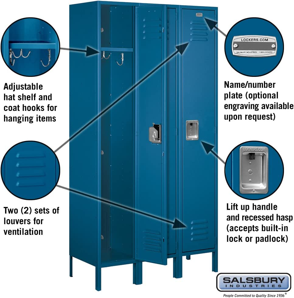 Salsbury Industries 51365BL-U Single Tier 45-Inch Wide 6-Feet High 15-Inch Deep Unassembled Extra Wide Standard Metal Locker Blue