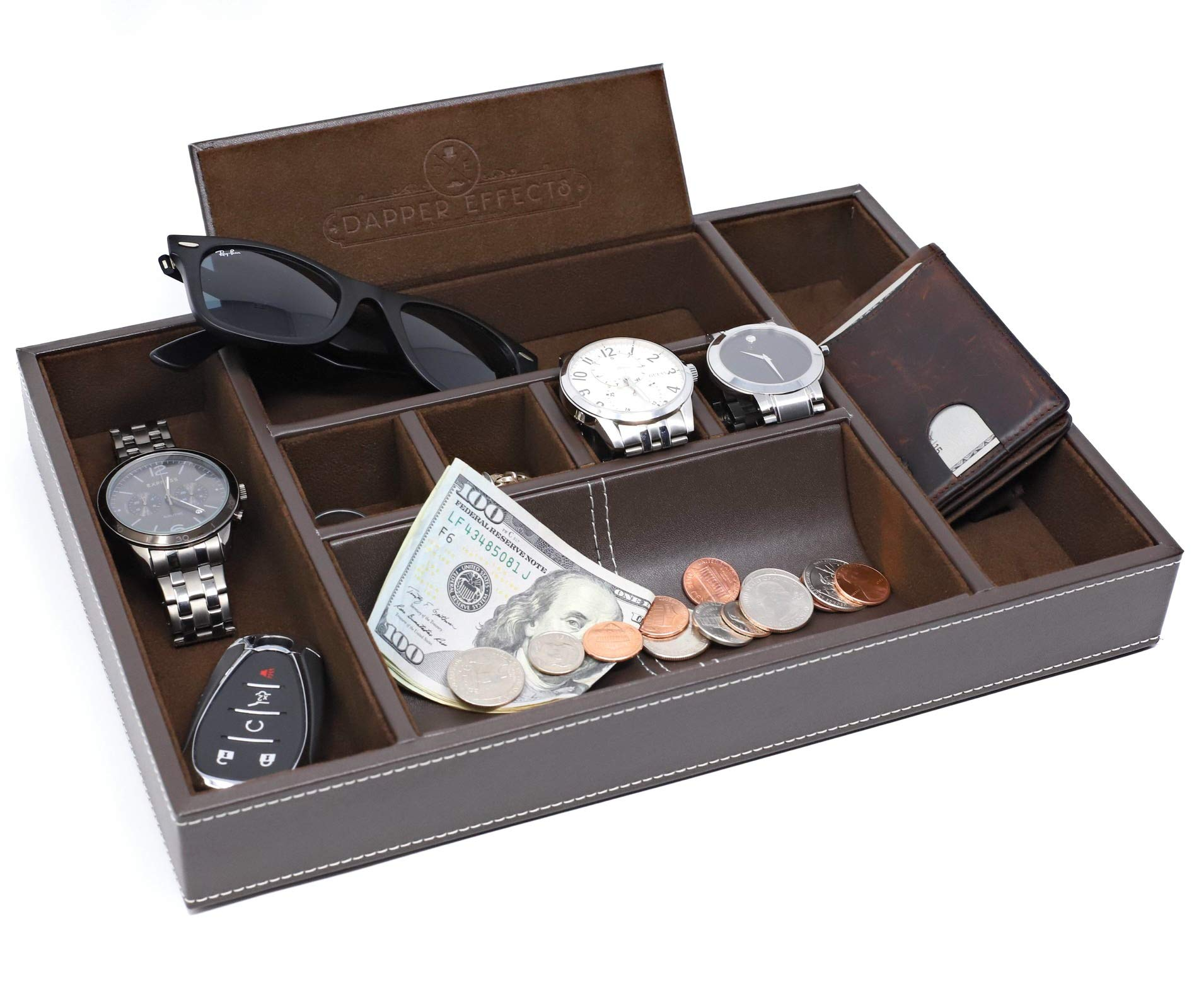 Dapper Effects Mens Valet Tray - Organizer For Desk, Dresser Top Or Nightstand (Brown)