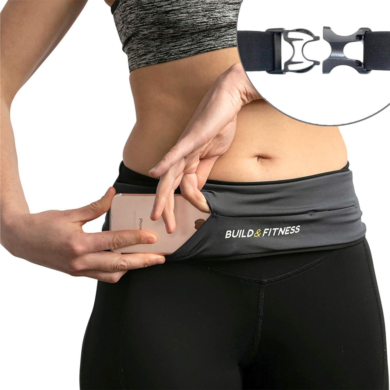 Build & Fitness Riñonera Running – Cinturón Hombre/Mujer Ajustable, Clip para Llaves - Ligero, Fino, Manos Libres – Móviles, Llaves, Tarjetas – Riñonera Deportiva Running, Gimnasio, Yoga, Deporte