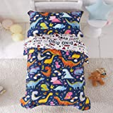 Joyreap 4 Piece Toddler Bedding Set, Standard Size Colorful Dinosaur Printed on Navy, Includes Quilted Comforter, Fitted Shee