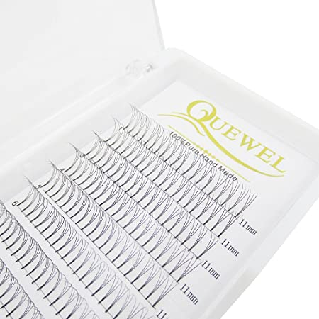 Russian Volume Premade Fans Eyelashes Extension 3 D Thickness 0.07/0.10 Curl C/D Length 8 18mm By Quewel (3 D 0.10 D, 11mm) by Quewel