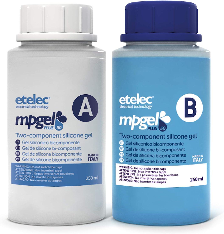 Etelec MPgel Plus Kit 2 flacons Carafe gel silicone bi-composant Remplissage isolant Bo/îtes caisses D/érivation Fino1 kV