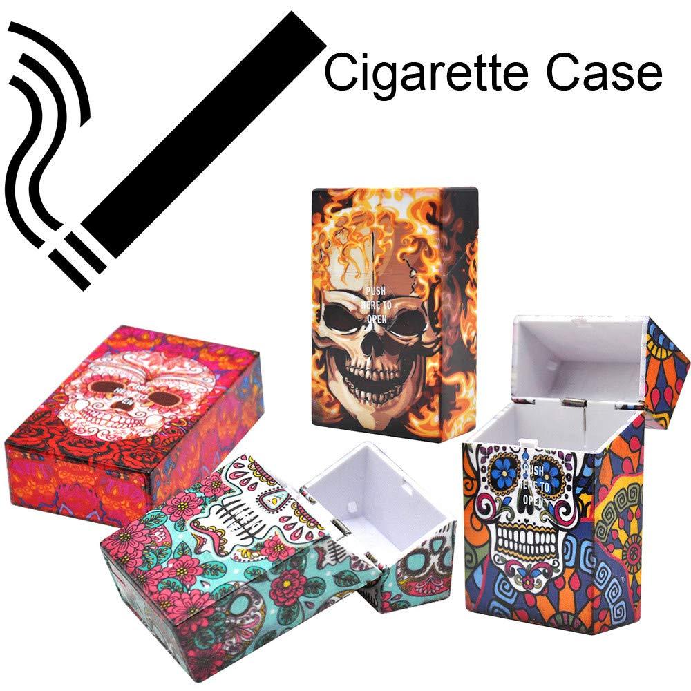 Transer- Cigarette Box Case, Skull Plastic Tobacco Pocket Storage Box Holder, Fit 20 Pcs 85mm Cigarettes (Pack of 4)