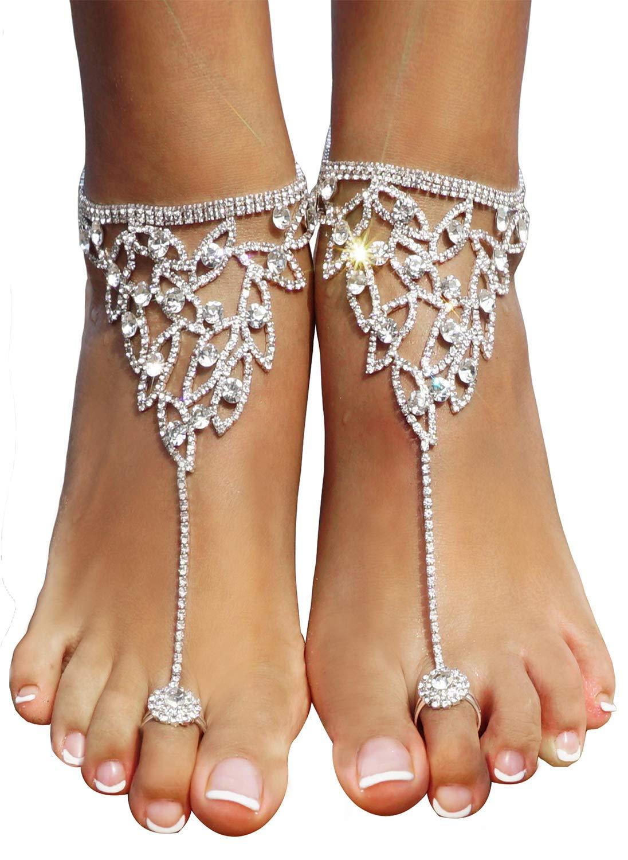Bienvenu 2Pcs Barefoot Sandals Sparkling Crystal Clear Rhinestone Elegant Design Golden ZLM18030054
