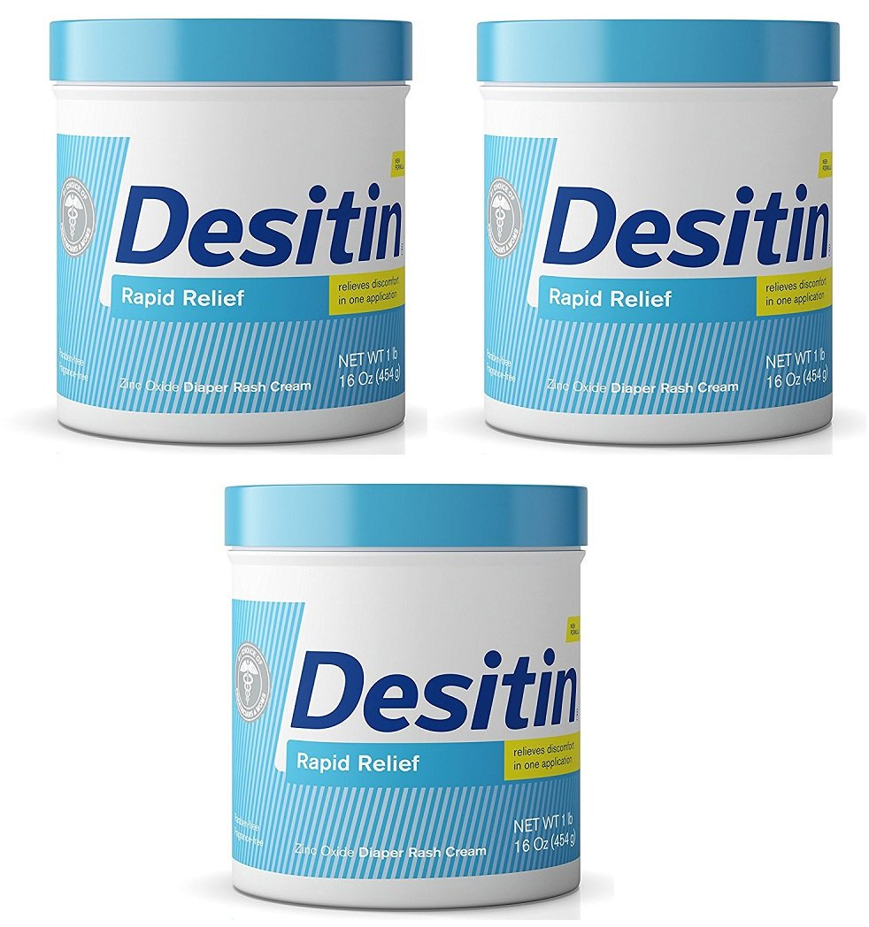 Desitin Rapid Relief Diaper Rash Remedy, Fragrance-Free Cream, 16 Ounce (3 Pack) by Desitin