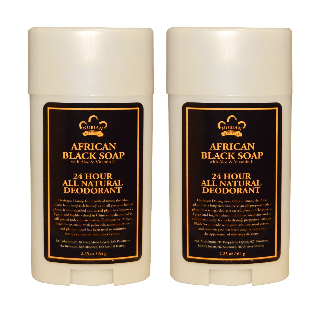 Nubian Heritage 24 Hour All Natural Deodorant African Black Soap (Pack of 2) with African Black Soap Extract, Shea Butter, Grapefruit Seed Extract, Vitamin E and Sandalwood Oil, 64 g