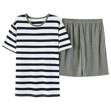 5e689172ec22 Wigeo Short Sleeved Men Pajama Set Cotton Sleepwear Nightie Male Causal  Nightdress Plus Size Nightwear Summer at Amazon Men s Clothing store