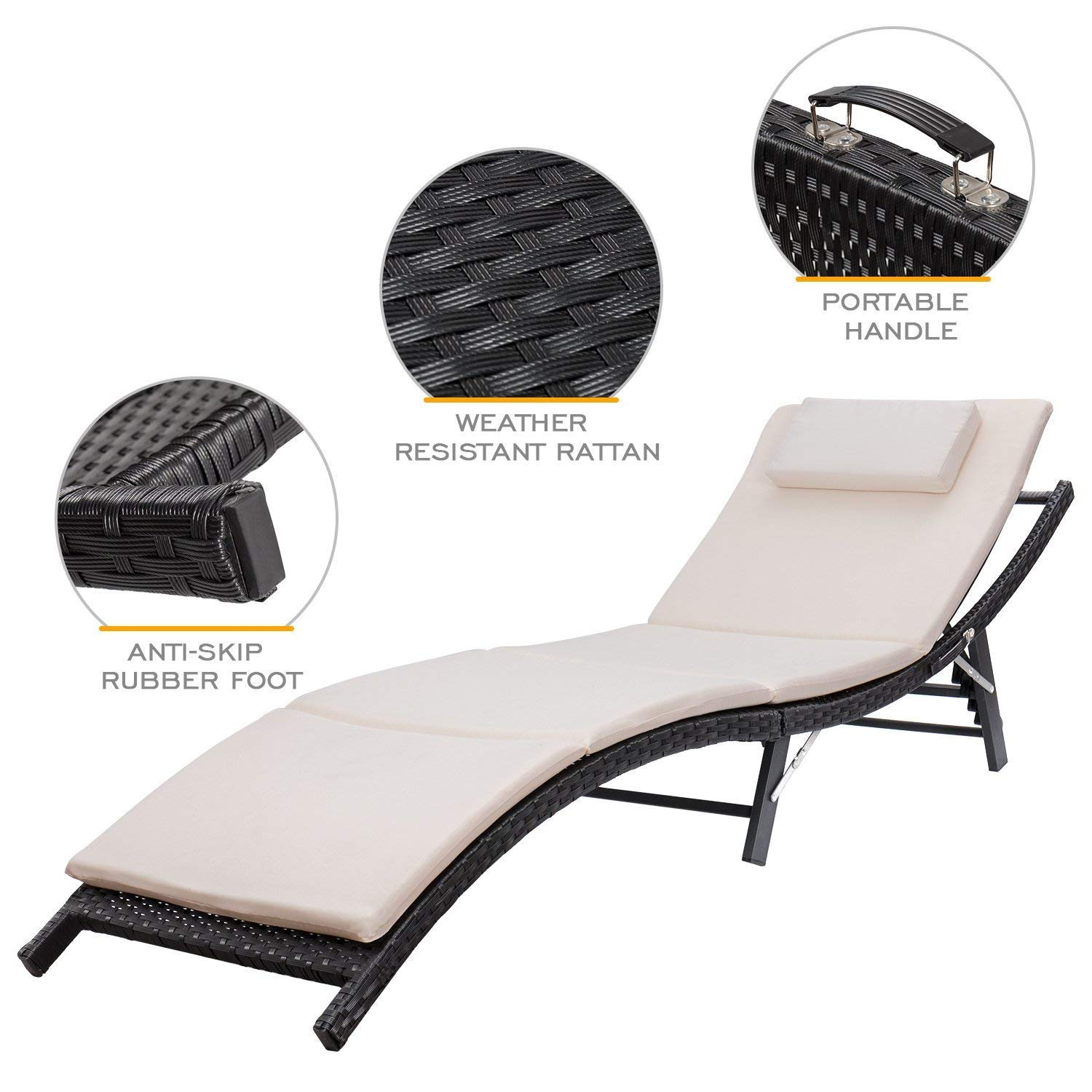 Homall Patio Lounge Chair Outdoor Adjustable Chaise Lounge Chair Patio Poolside Furniture Set Portable and Folding PE Rattan Furniture Adjustable 1 PE Rattan