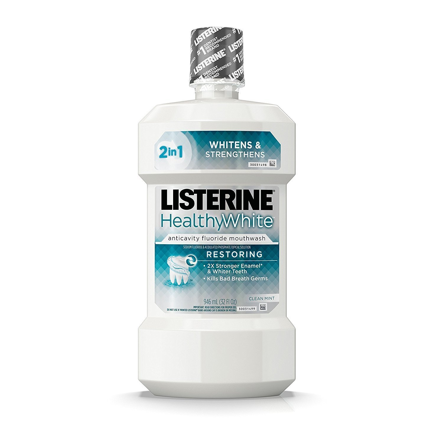 Listerine Whitening Plus Restoring Fluoride Rinse Clean Mint 946 mL (Pack of 2)