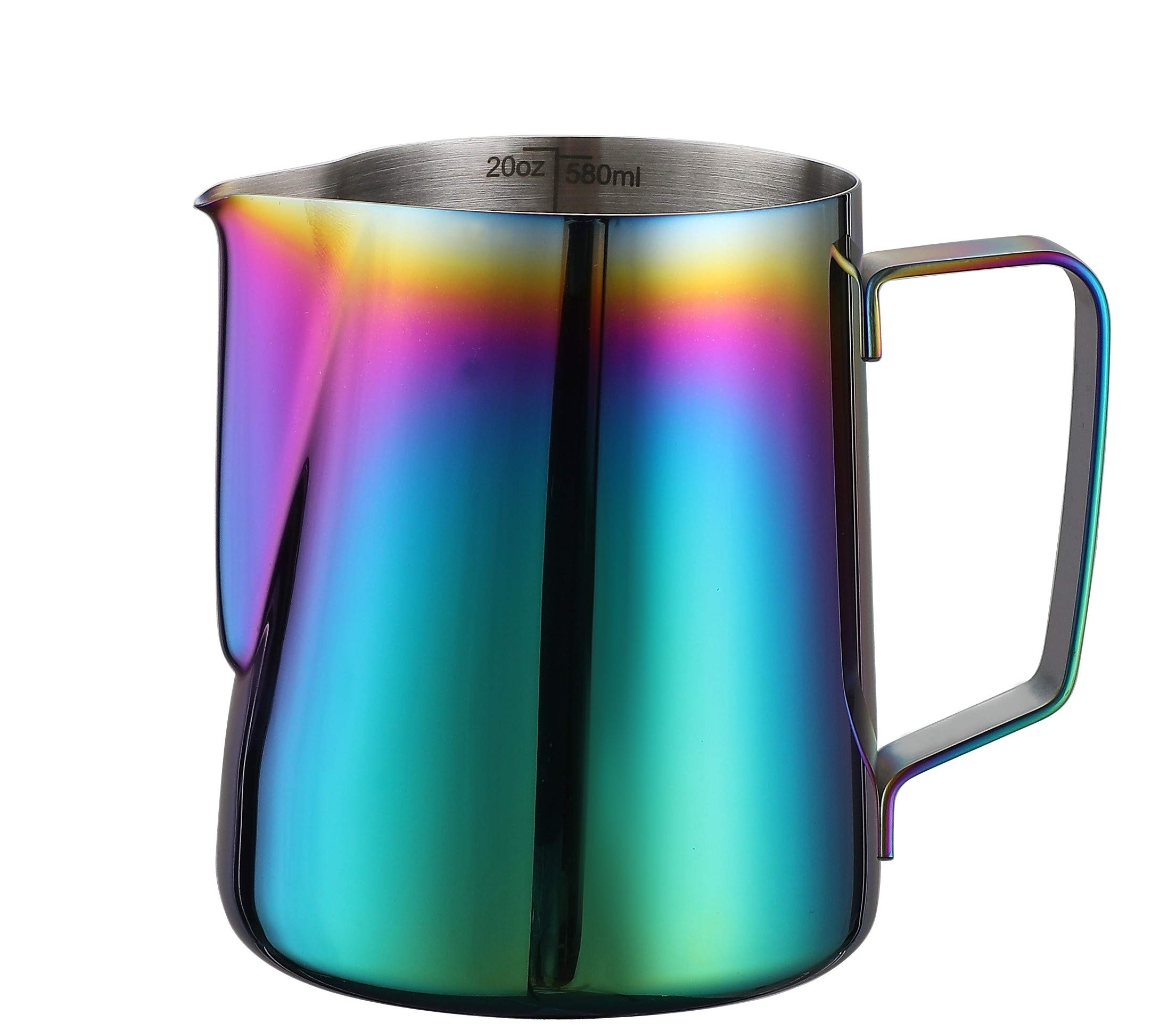 Joytata Milk Frothing Pitcher 20oz Stainless Steel Cup Perfect for Latte Art,Espresso Maker,Cappuccino Maker-18/8 Stainless Steel Milk Frother Pitcher Steaming Pitcher Rainbow Color 600ml by Joytata