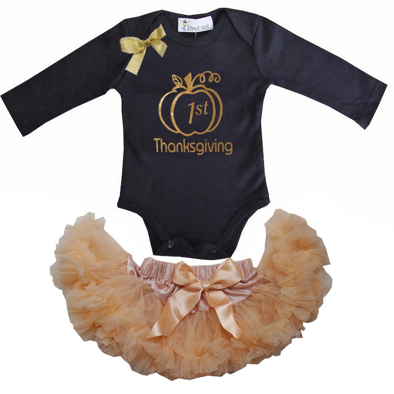 Kirei Sui Baby Goldenrod Pettiskirt Sparkle 1st Thanksgiving Pumpkin Bodysuit JS3BGW31WZ9BM