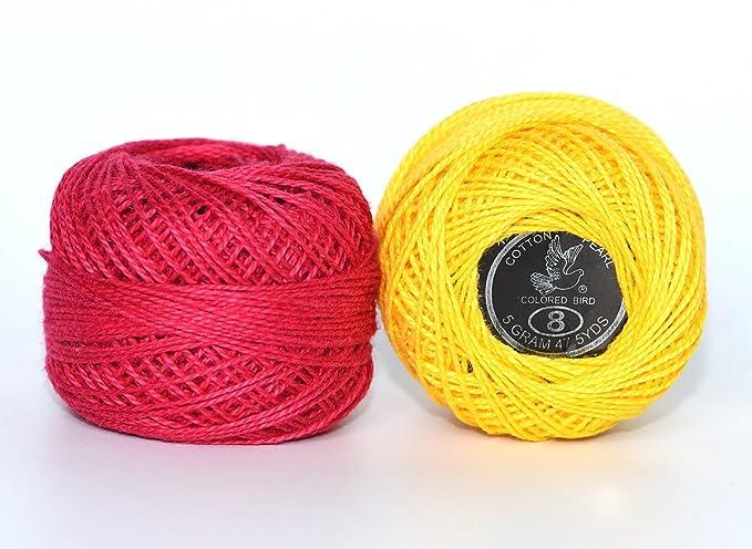 Juego de 48 bolas de hilo de crochet de algodón, 5 g por bola, colores arcoíris de tamaño 8, perla y 30 agujas doradas, 48 bolas para crochet ...