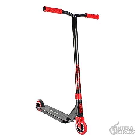 Nitro Circus CX3 Complete Pro Stunt - Patinete (Acabado Brillante), Color Negro y Rojo