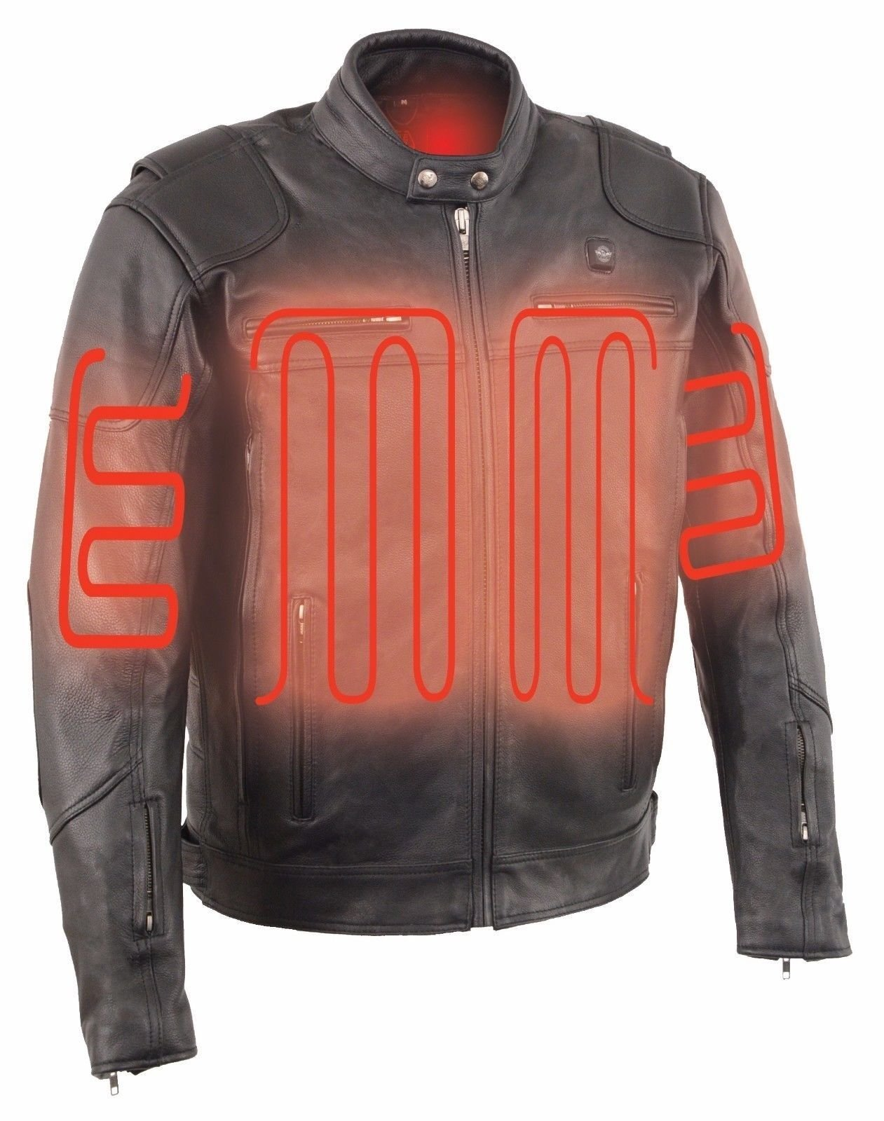 MEN'S VENTED MOTORCYCLE LEATHER SCOOTER JACKET W/ HEATED TECHNOLOGY (L Regular)