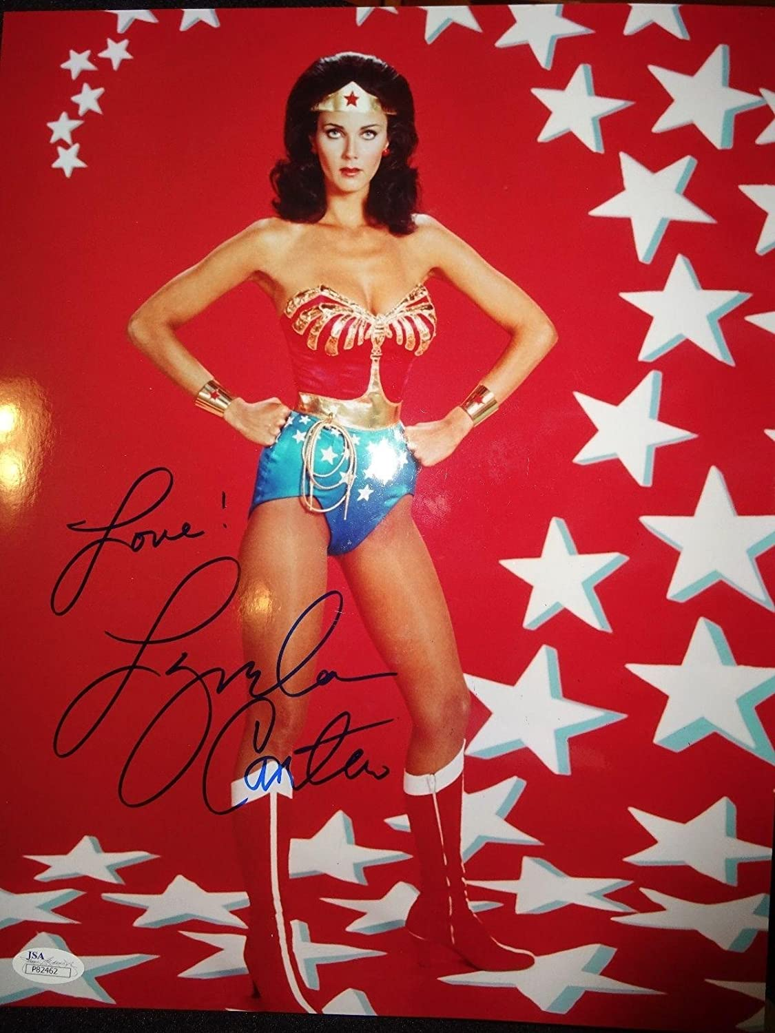 LYNDA CARTER HAND SIGNED OVERSIZED 11x14 PHOTO SEXY WONDER WOMAN - JSA  Certified at Amazon's Entertainment Collectibles Store