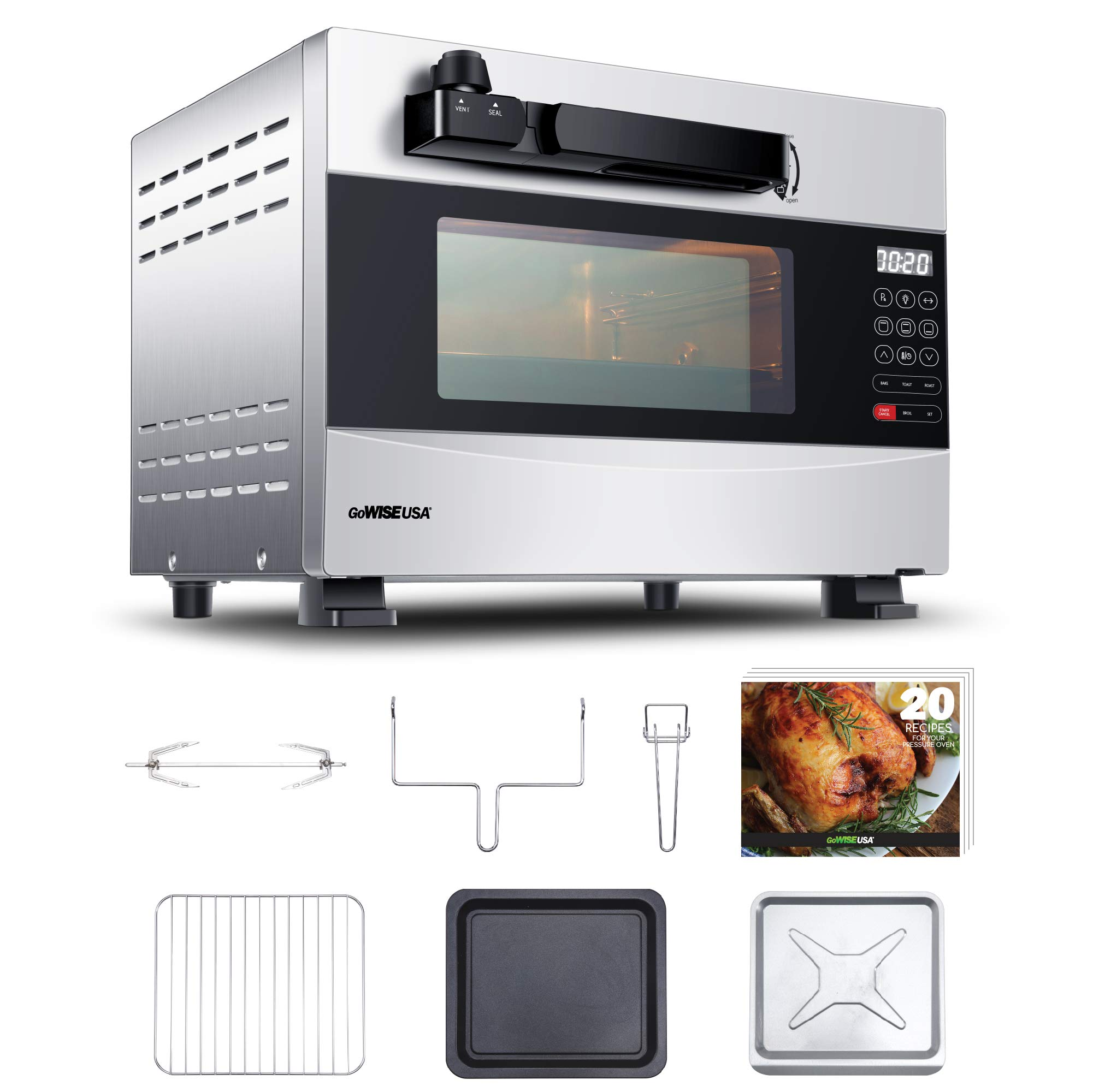 GoWISE USA GW22710 27-Quart Electric Programmable w/Rotisserie + 20 Recipes for Your Pressure Oven (Stainless Steel)