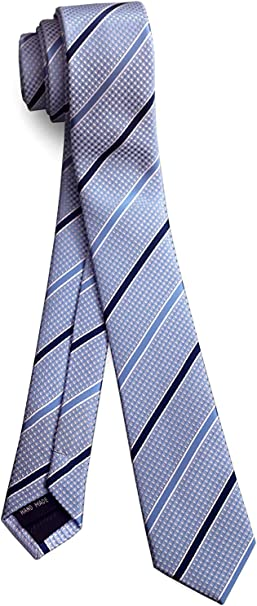 Mens Skinny Neck Tie SKY BLUE Silky Shiny Slim Everyday Office Party Wedding