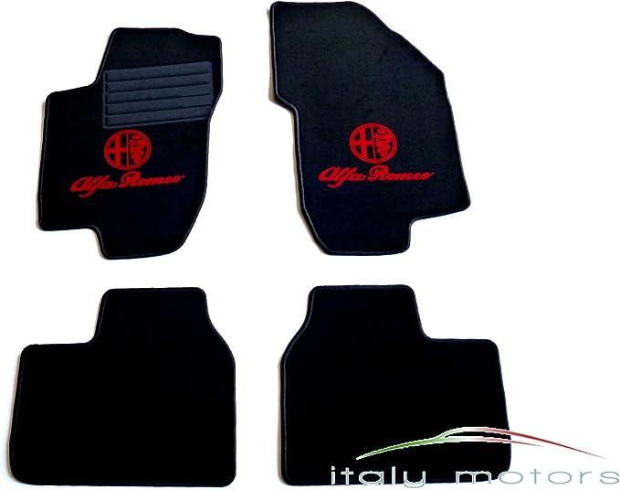 Maßgefertigte Fußmatten für Alfa Romeo 166 Velours SCHWARZ Komplett Set