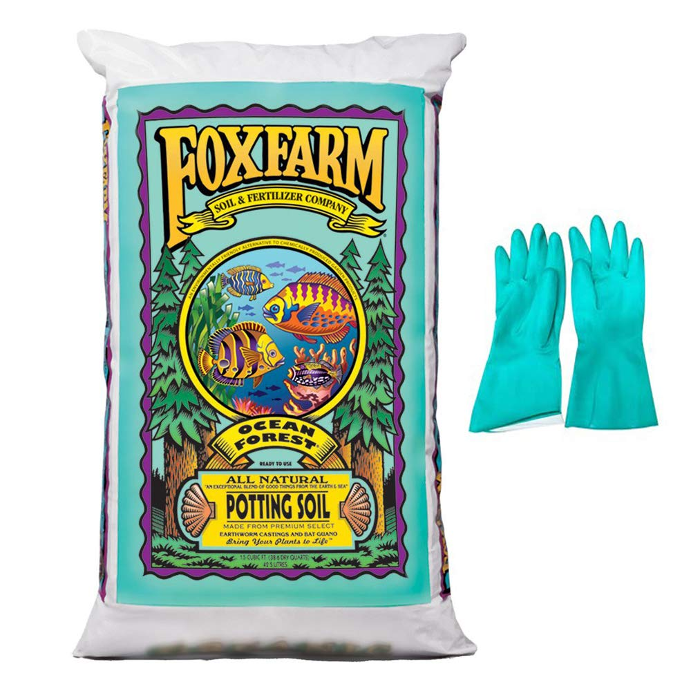 FoxFarm Ocean Forest Potting Soil - Organic Plant Fertilizer - 1.5 cu ft. - (Bundled with Pearsons Protective Gloves) (1 Pack)