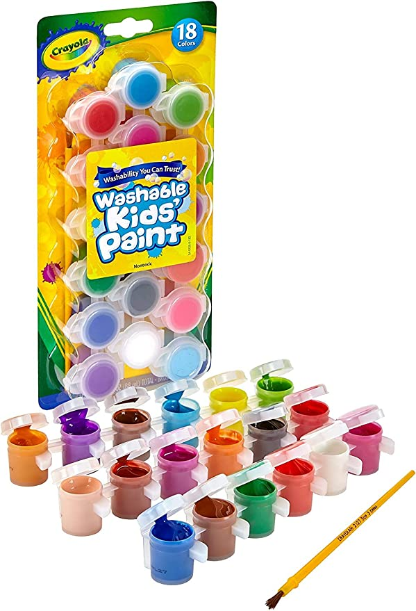 Crayola Washable Kids Paint, Pack of 18 - Multicolour,Crayola,54-0125,B00005BMKX,Arts_and_Crafts,Paint Supplies/Paint Kits,Toys,paint, washable, colouring,