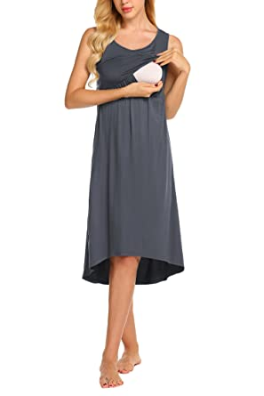 UNibelle Umstandsnachthemd Stillnachthemd Ärmellos Stillkleid für  Schwangere und Stillzeit  Amazon.de  Bekleidung 9185744859