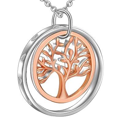 Pendentif arbre de vie en argent blanc et or rose cuivre en suspension