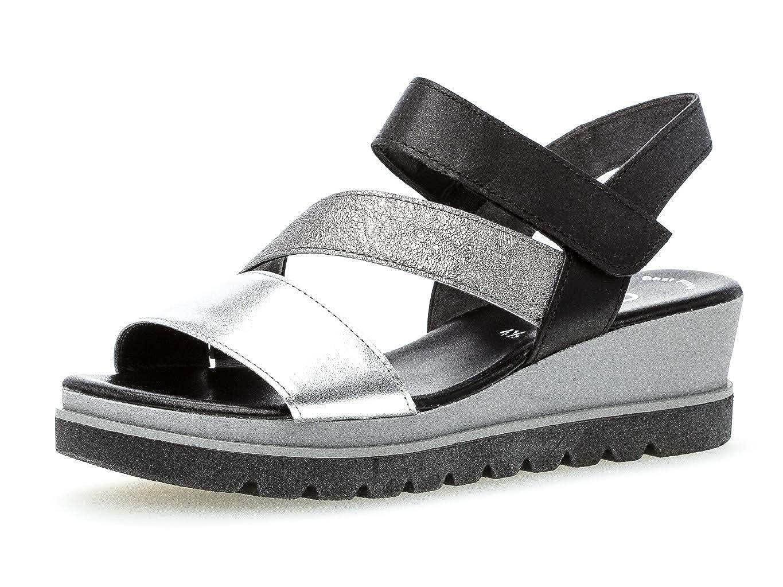 Silber Stone Schw. Gabor 23.641 Damen Sandalen,Keilsandalen, Frauen,Keilabsatz-Sandaletten,Keilsandaletten,Sommerschuh,flach,Best Fitting