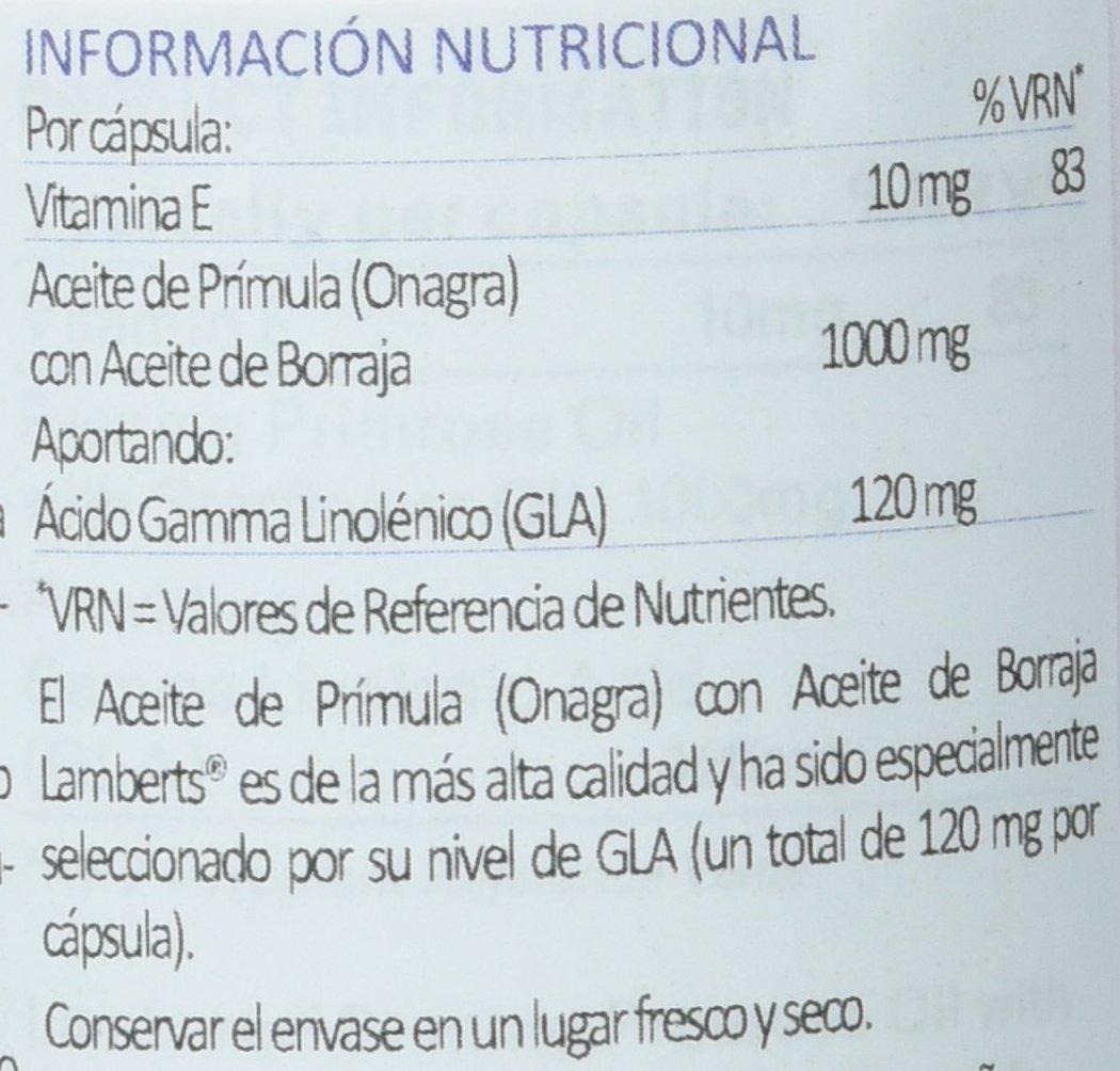 Lamberts Aceite de Prímula con Borraja 1000mg - 90 Cápsulas: Amazon.es: Salud y cuidado personal