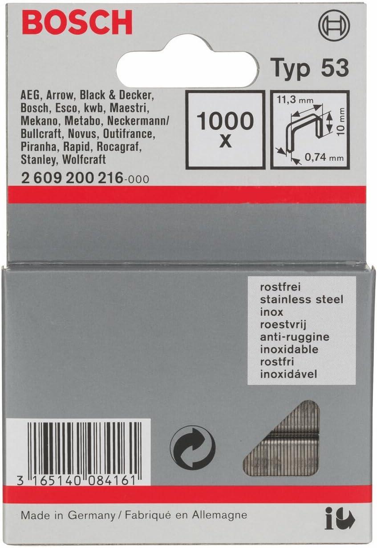 pack de 1000 Bosch 2 609 200 216 Grapa de alambre fino tipo 53-11,4 x 0,74 x 10 mm