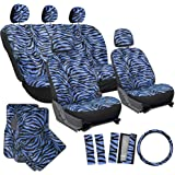 OxGord 21pc Set Zebra Car Seat Cover, Carpet Floor Mats, Steering Wheel Cover, Shoulder Pads - Airbag - Front Low Back Buckets - Universal Fit, Truck, SUV, or Van - Blue