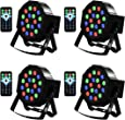 LED Up Lighting 18 RGB stage light, Missyee Sound Activated DMX Lighting Dj Par Can Lights with Remote Control for Birthday Party Wedding Bar Club Home Christmas Halloween Festival (4 packs)