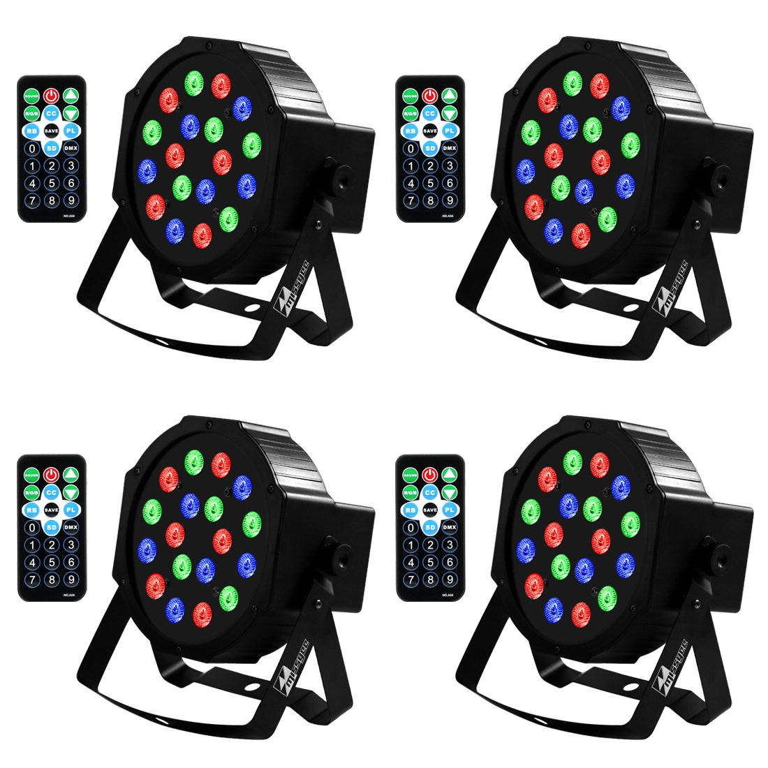 Uplights 18 RGB Led UpLights, Missyee Sound Activated DMX Uplighting, LED Par Can Lights with Remote Control, DJ Uplighting Package for Wedding Birthday Home Party (4 pcs) by Missyee