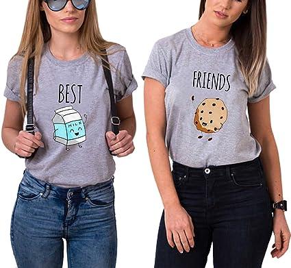 Mejores Amigas Camiseta 2 Best Friend T-Shirt Dibujos Animados 100% Algodón 2 Piezas Manga Corta Par Impresión Best Friends Camisa Hermana para Mujer Verano: Amazon.es: Ropa y accesorios