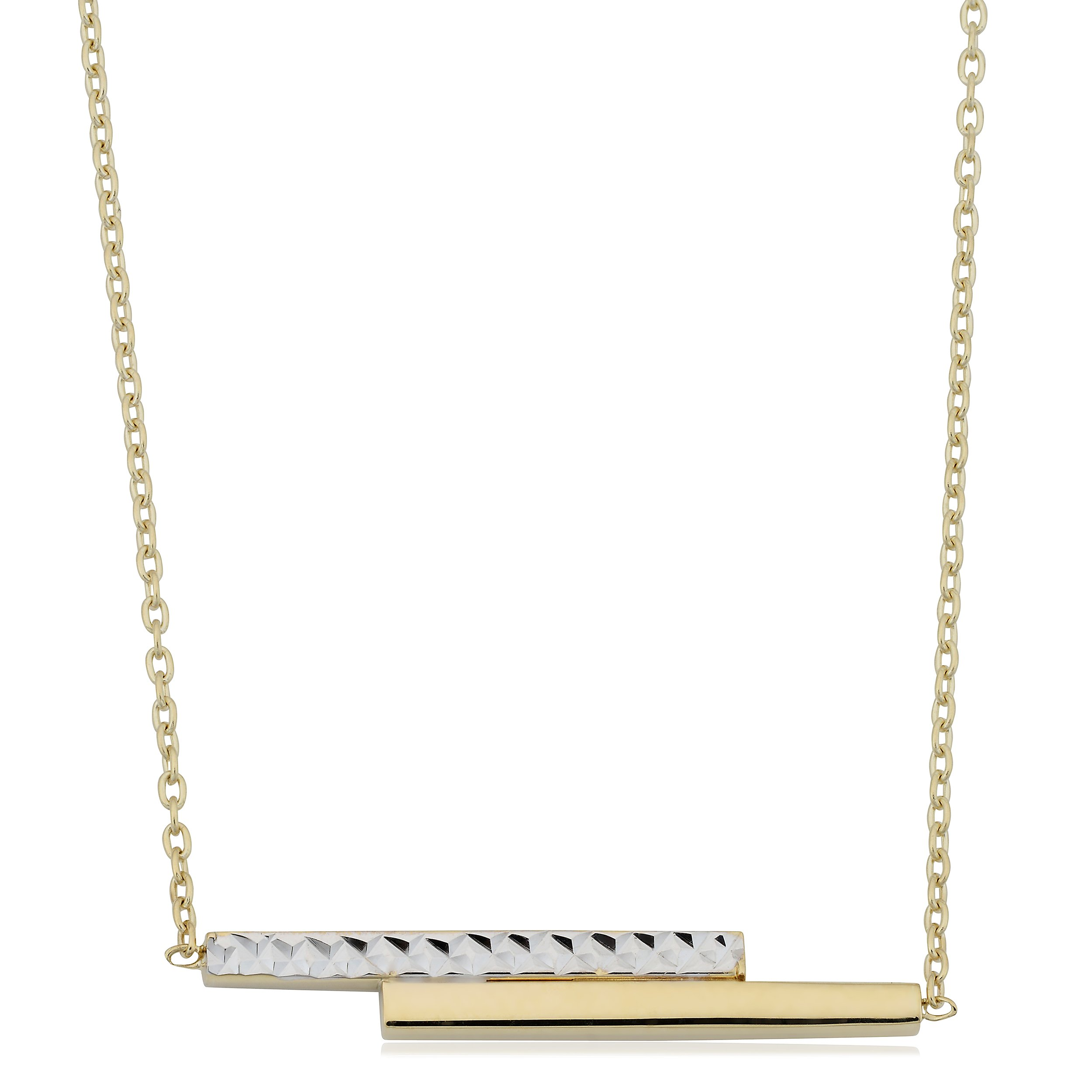 10k Two-Tone Gold Double Bar On Adjustable Length Cable Chain Necklace (up to 18'')
